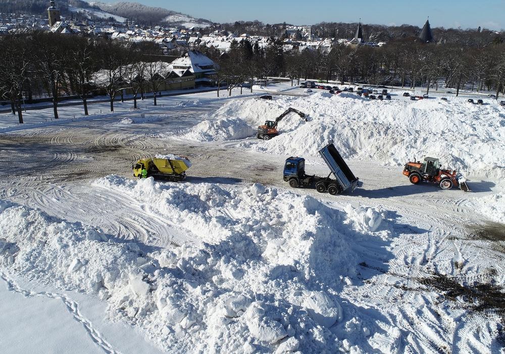 Auf dem Osterfeld herrscht Betrieb. Radlader und Lkw fahren hin und her und kippen Massen von Schnee ab. Das sei kein Platz zum Spielen.