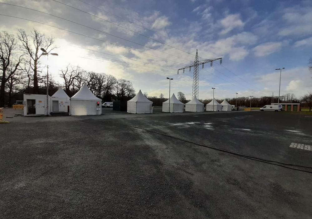 Das Corona-Testzentrum auf dem Messegelände.