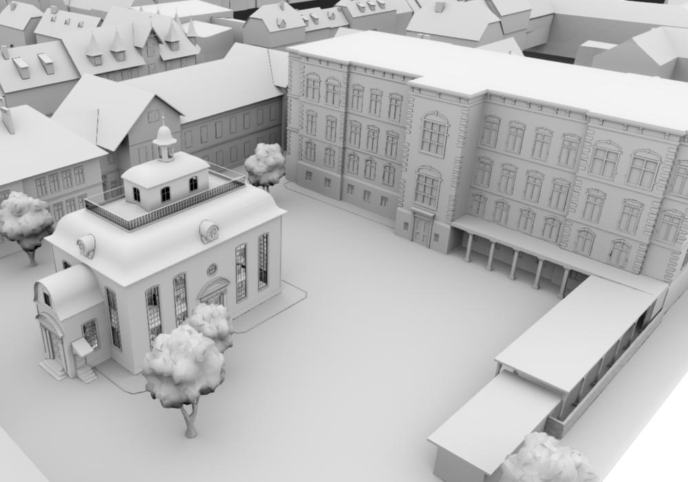 Virtuell zum Leben erweckt - Die Synagoge am teilweise erhaltenen Jacobson-Haus in Seesen.