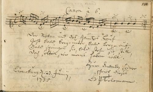 Eintrag von Georg Philipp Telemann mit einem sechsstimmigen Kanon im Stammbuch des Studenten Konrad Arnold Schmid aus Lüneburg, späteren Professors am Collegium Carolinum in Braunschweig, 1735 (NLA WO VI Hs 13 Nr. 35).
