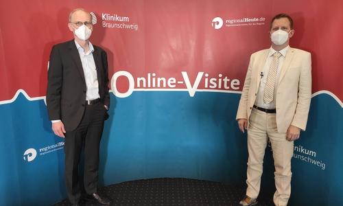Prof. Dr. Jürgen Krauter, Chefarzt der Hämatologie und Onkologie, sowie PD Dr. Arne Trummer, stellvertretender Chefarzt und leitender Oberarzt Hämatologie und Onkologie am Klinikum Braunschweig.