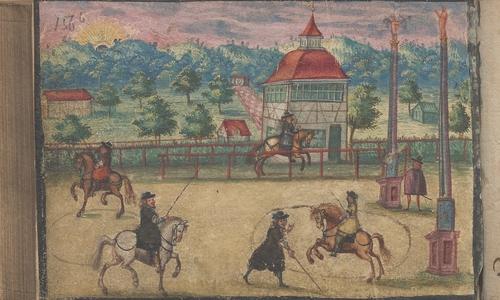 Die Reitschule am Sächsischen Hof in Merseburg, Illustration zum Eintrag des fürstlich Sächsischen Rossebereiters Basilius Kühn, 1669 (NLA WO VI Hs 13 Nr. 22).