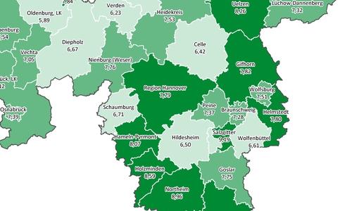 Die Karte zeigt, wie häufig (in Prozent) Menschen an COPD in der Region erkrankt sind.
