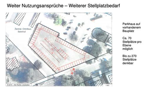 Skizze in der Präsentation von 2016 für ein Parkhaus am Bahnhof. Durch Verengung der Busausfahrt könnte Platz für eine solche Immobilie geschaffen werden.