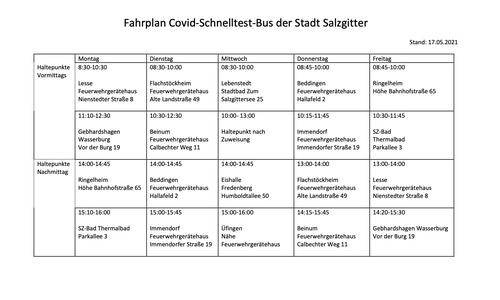 Der Fahrplan für den Testbus.