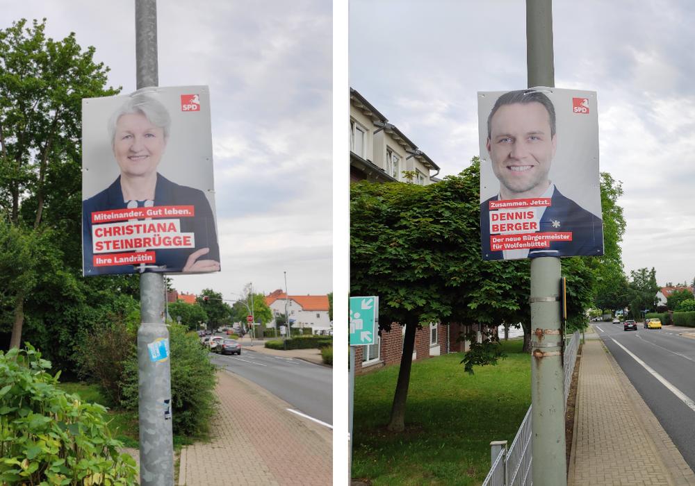 Christiana Steinbrügge will Landrätin bleiben und Dennis Berger will Bürgermeister werden. Ihre Plakate wurden ohne Genehmigung zu früh aufgehängt.