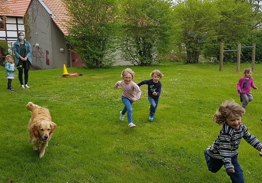 Die Eilumer Kinder sind mit Freude hochkonzentriert bei der Sache – Therapiebegleithündin Juna unterstützt und Ergotherapeutin Lena Bartelborth sorgt für neue Spielvarianten.