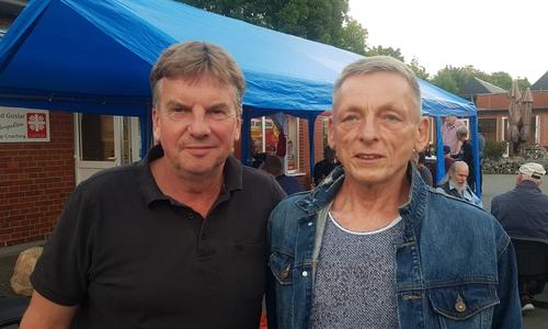 Michael Ohse und Rüdiger Wohltmann auf der Wahlparty der Linken.