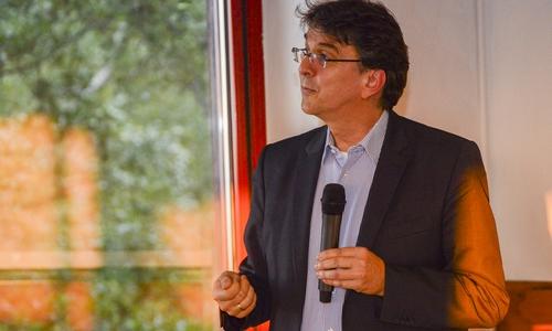 Professor Dr. Olaf Arndt von der Prognos AG zu Besuch auf dem Maltermeister Turm.